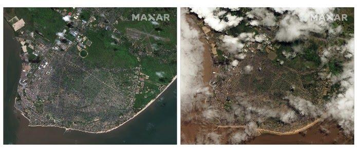 Imagens de satélite mostram a vista aérea da cidade de Beira, em Moçambique, antes (esquerda) e depois da passagem do ciclone, neste sábado (23). — Foto: DigitalGlobe/AP