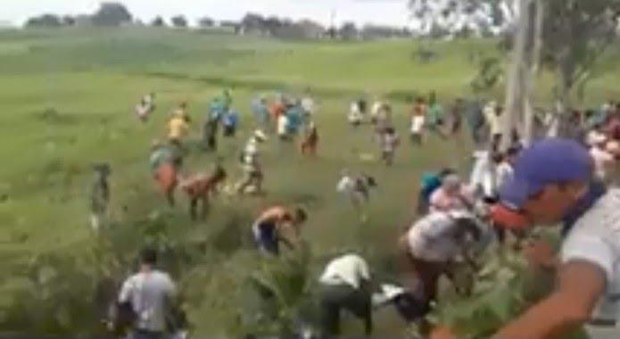 População fez 'corrida' em busca de cédulas espalhadas pela via (Foto: Reprodução)