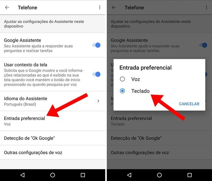 Priorize comunicação com a Google Assistente pelo teclado