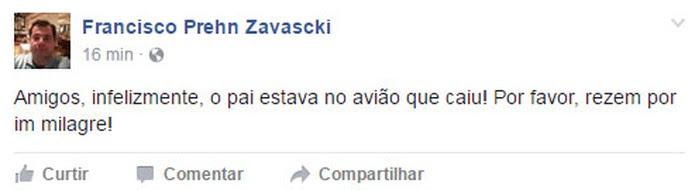 Às 17h22, o filho de Teori Zavascki publicou texto confirmando que ministro estava no avião que caiu em Paraty (RJ)