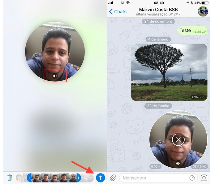Ação para habilitar ou desligar o áudio e enviar um vídeo rápido no chat do Telegram
